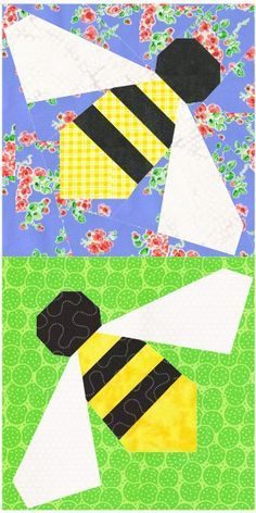 Sew a whole hive of sweet honeybees with this free paper piecing quilt block pattern suitable for adventurous beginners. Free Paper Piecing Patterns, Barn Quilt Patterns, Pattern Blocks, Pattern Paper, Paper Patterns, Dog Quilts, Animal Quilts, Quilting Projects, Quilting Designs