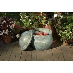 garden hose storage pot. good directions blue verde hose pot lid (blue steel), outdoor décor. garden storagepot storage