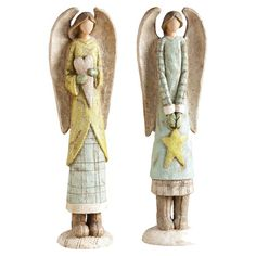 Deck the Halls: Indoor Décor - Light Blue Yellow Angel Figurine Set Merry Christmas To All, Christmas Angels, Christmas Sale, Christmas Decor, Seraph Angel, Clay Angel, Pottery Angels, Angel Theme, Little Cherubs