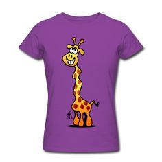 Giraffe op een paars dames T-shirt. #Spreadshirt #Cardvibes #Tekenaartje