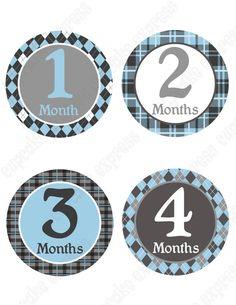 INSTANT Download DIY Little Man Monthly Onesie Baby Stickers 1 month - 12 month  PRINTABLE Blue grey Charcoal  Bonus Newborn Sticker on Etsy, $4.75