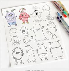 My son loved this free printable monster coloring page, and I bet your kids would too! They can personalise their very own monsters for Halloween this year. By Dabbles & babbles