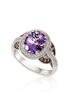 Le Vian  Grape Amethyst8482 Chocolate Diamond174 and Vanilla Diamond174 Ring in 14k Vanilla Gold174