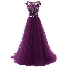 dark purple Evening Dress,tulle Prom Dress,long prom dress,Charming... ❤ liked on Polyvore featuring dresses, purple prom dresses, short prom dresses, long prom dresses, sleeved prom dresses and long purple dress