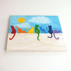 Arc en ciel chats sur un mur, 8 « x 10 » acrylique toile colorée, peinture décor chat lunatique.