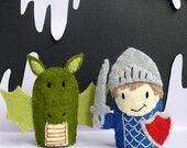 Knight and Dragon Felt Finger Puppets