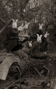 """Bunnyland"" - Photography by Alena Beljakova, Bunny# masks,# wonderland,# creepy ? Film Noir Fotografie, Old Photos, Vintage Photos, Vintage Halloween Photos, Halloween Pictures, Arte Obscura, Psy Art, Bizarre, Dark Photography"