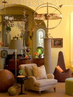 Yellow Music Room With Piano, Willow Chair and Armillary Sphere | HGTV