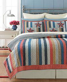 Martha Stewart Quilts and Bedding | Martha Stewart Collection Bedding, Independence Stripe Quilts