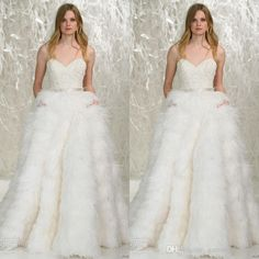 Spring 2016 Watters Feather Wedding Dresses Sweetheart Neckline Lace Bodice Ostrich Feather Skirt Noble Bridal Gowns Bridal Shops Bride Dresses From Garmentfactory, $311.56  Dhgate.Com