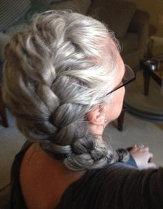 Silver gray braid. No dye. Dye free. Grey hair. White hair. Granny hair. Aging and going gray gracefully.