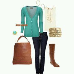 Verde agua y jeans