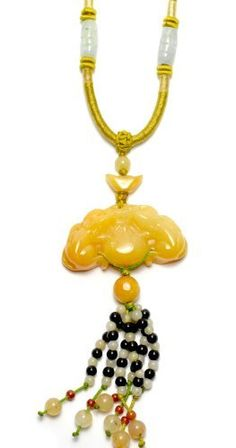 £33.99 Chinese Guardian Fortune Rat and Coins Carved Yellow Jade Talisman Amulet Necklace, Jade Pendant 47x22x8 mm, Adjustable Cord 40x70cm - Fortune Feng Shui Chinese Zodiac Jewelry by Feng Shui & Fortune Jewelry, http://www.amazon.co.uk/dp/B00DHMKGVQ/ref=cm_sw_r_pi_dp_39ZWrb0ZTHWAD