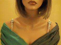 Decorative Bra Straps Grey & White Flower for Strapless Dresses #1039 -Rhinestone http://www.giovonna.com/