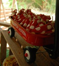 RED WAGON PARTY. See the forks just rolled in red and white. Just with red and white colored stuff you could do so much!