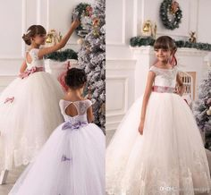 2016 New Flower Girls Dresses For Weddings Lace White Ivory Sashes Bow Party Princess Children Kids Party Birthday Christmas Communion Gowns Online with $83.76/Piece on Yes_mrs's Store | DHgate.com