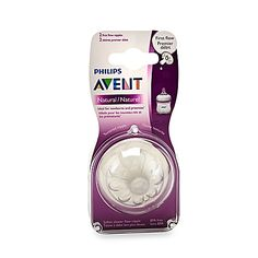 Your newborn will feed more comfortably with AVENT's Natural First Flow Nipples. Featuring a twin valve system to reduce colic and a wide, breast-like design, this nipple promotes natural latch-on and makes it easy to combine breast and bottle feedings.