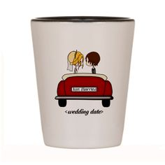 Just Married #wedding souvenir or favor shot glass