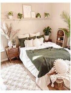 White Bedroom Decor, Bedroom Green, Room Ideas Bedroom, Master Bedroom, Bedroom Inspo, Diy Bedroom, Earthy Bedroom, Bedroom Designs, Natural Bedroom