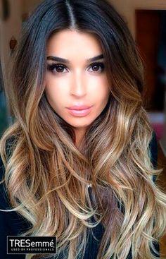 Ombré Hair Color Black to Blonde With Waves #TRESemmé
