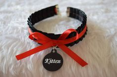 Kitten Engraved Personalised Charm Red Disc Tag by KittenTreasures