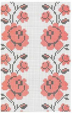 Sweet home : Romantilised roosid Cross Stitch Borders, Cross Stitch Flowers, Cross Stitch Designs, Cross Stitch Patterns, Palestinian Embroidery, C2c Crochet, Blue Tiles, Bead Loom Patterns, Loom Beading