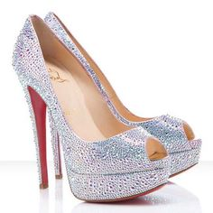 Silver textured Peep Toe Christian Louboutin - Perfect, Done, Sold!