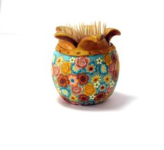 Pomegranate clay vase. Polymer clay vessel. each one by sigalsart