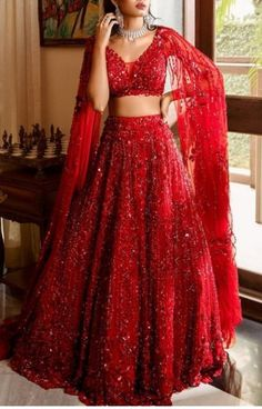 For order booking Please email: nivetasfashion Whatsapp International Shipping Get made your desired dream wedding outfit. We do focus … Indian Gowns Dresses, Indian Fashion Dresses, Dress Indian Style, Indian Designer Outfits, Bridal Dresses, Indian Designers, Red Wedding Dresses, Red Gowns, Dress Fashion