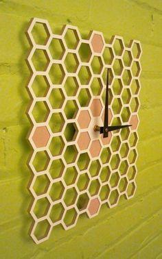 Honeycomb clock from Keith Moore #bees #honeycomb #modern #natural #clocks #homegoods #hive