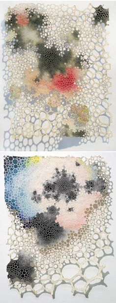 mixed media on handmade Abaca paper by New York based artist Karen Margolis