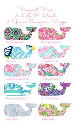 Vineyard Vines meets Lilly Pulitzer whale by GinsMonogramShoppe. Because she absolutely LOVES Lilly Pulitzer and vineyard vines. Preppy Girl, Preppy Style, My Style, Preppy Southern, Southern Belle, Southern Prep, Lilly Pulitzer, Preppy Car Accessories, Vinyard Vines