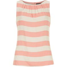Dorothy Perkins Peach wide stripe shell top ($19) ❤ liked on Polyvore featuring tops, shirts, tank tops, tanks, pink, pink top, rayon shirts, viscose shirt, pink shirts and peach top