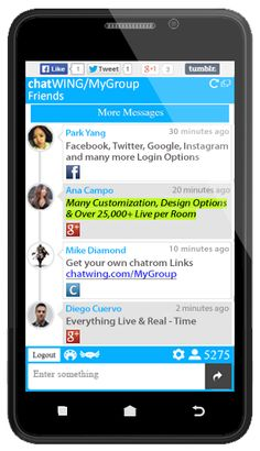 Chat rooms for mobile devices