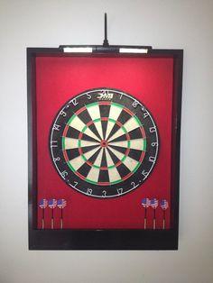 LIGHTED Red & Black Trim Custom Dart Board Backboard/Surround