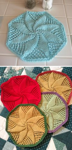 Free Knitting Pattern for Doily Style Dishcloth - Circle shaped lace cloth knit in the round. Also makes pretty table decor. Designed by Lily Sugar'n Cream and Bernat Design Studio. Pictured projects by dzirin and mamacelebrates. Knitted Dishcloth Patterns Free, Knitted Washcloths, Crochet Dishcloths, Doily Patterns, Crochet Yarn, Knitting Patterns Free, Free Knitting, Crochet Patterns, Knitting Projects