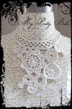 Crochet Necklace Collar Crochet Flower Handmade by myprettybabi, $17.80