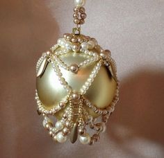 Beaded Christmas ornament cover/finished ornament/champagne