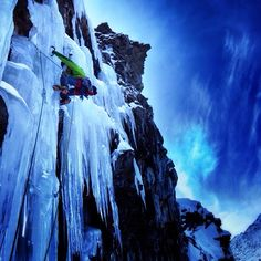 "Ice Climbing in Cogne, on the rarely formed ""Riacamo"".  Arc'teryx Athlete Matthias Scherer"