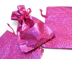 """5 Small Bright Pink Hologram Drawstring Gift Bags - 2 1/2"""" x 3 3/4"""" - Sparkly Hologram Material - Store Owner Jewelry Supplies"""