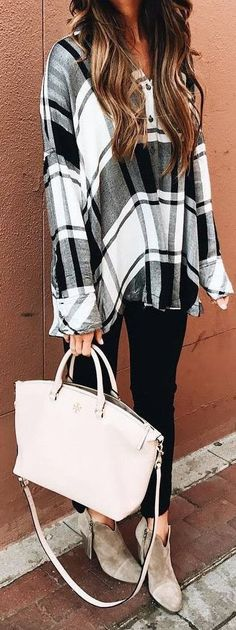 #fall #outfits / oversized plaid shirt + beige booties