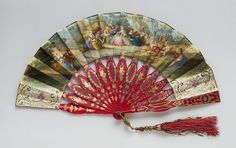 Title: Fan Place of creation: Spain Date: 1850s Material: Ivory, paper, gouache, silk and enamel Technique: carved and painted Dimensions: Length 27 cm Inventory Number: ЭРТ-6550