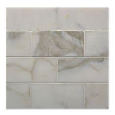 Shower subway tile in Calacatta Gold