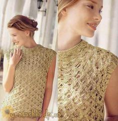 Летний топ спицами Lace Knitting Patterns, Pulls, Knitting Projects, Diy Fashion, Hobbies And Crafts, Crochet Top, Knitwear, Clothes For Women, How To Wear
