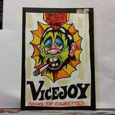 ORIGINAL ART SKETCH CARD WACKY PACKAGES VICEJOY CIGARETTES FAN ART SCHERES #PopArt