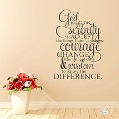 Serenity Prayer Wall Decal Quote - Bible Verse Word Art