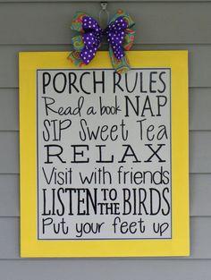 Porch Rules Sign, Door Hanger, Summer Decor, Subway Art via Etsy. Need for my porch! Summer Crafts, Summer Fun, Porch Rules Sign, Summer Decoration, Subway Art, Subway Signs, Porch Decorating, Decorating Ideas, Craft Ideas
