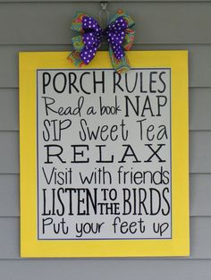 Porch Rules Sign Door Hanger Summer Decor