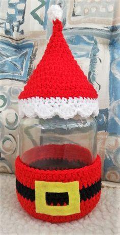 Christmas Crochet Patterns, Holiday Crochet, Crochet Snowflakes, Crochet Jar Covers, Christmas Stockings, Christmas Crafts, Crochet Square Blanket, Button Ornaments, Bottle Cap Art