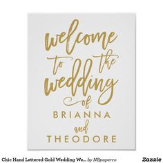 Chic Hand Lettered Gold Wedding Welcome Sign